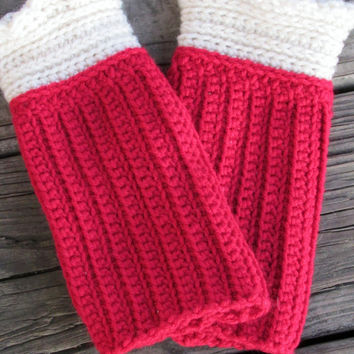Romantic Ruffled Arm Warmers, Victorian, Fingerless Gloves, Wrist Warmers, Red and Cream Lady Gloves, Photographer Gloves