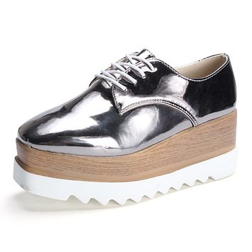 2017 Women Oxfords Platform Shoes, Women Pointed Toe Brogues Creepers Patent Leather Flat Shoe, Lace-up Silver Retro Flats