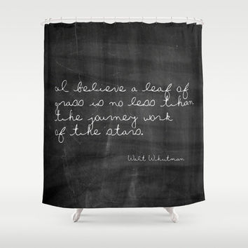 Shower Curtain - Leaf of Grass - Walt Whitman Quote - Woodland Decor - Farmhouse Chic - Cabin Decor - Cottage Chic - Rustic Shower Curtain