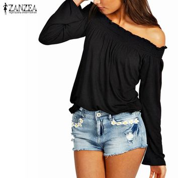 Blusas Femininas New 2017 Spring Autumn Sexy Womens Blouses Ladies Solid Shirred Off Shoulder Tops Casual Blouse Shirts
