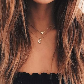 MESTILO Trendy Cute Romantic Tiny Love Heart Moon Pendant Necklaces For Women Boho Gold Sliver Chain Multilayer Choker Necklace