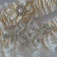 Wedding Garter Set - Ivory Garters with Beautiful Ivory Raschel Lace and Crystal Rhinestone Applique