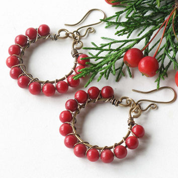 Christmas earrings - red coral beaded hoops, gold brass wire wrapped