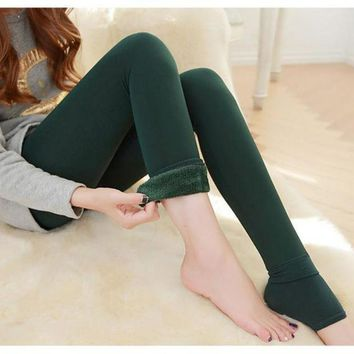 MDIGHY3 Nov18 Amazing Lady Winter Warm Legging Thickened Winter Super Elastic Fleece Women Leggings Solid Color