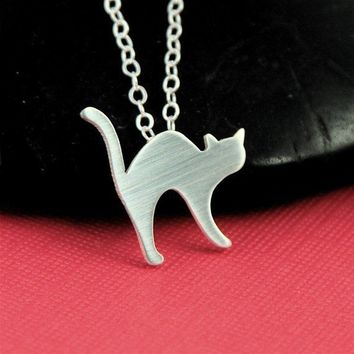 Silver Arched Back Cat Necklace by ANORIGINALJEWELRY on Etsy
