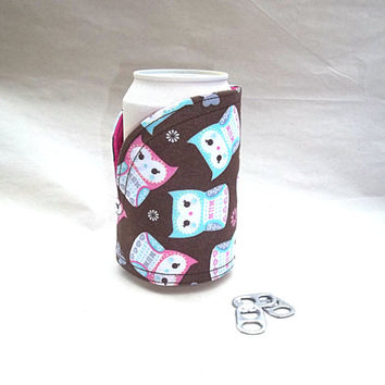 Owl Can Cozy Can Koozie Pink Teal Purple Brown Russian Matryoshka Fabric Insulated reusable reversible adjustable with Insul bright lining