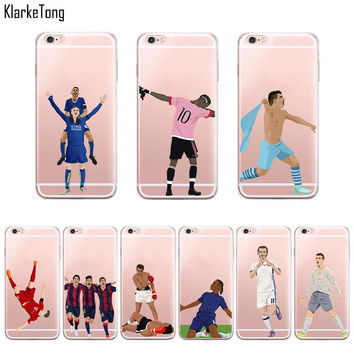 Clear Football Phone Cases for iPhone 6 6s 5 5s SE 7/7Plus Cristiano Ronaldo Soccer Sport Stars Pattern Silicone Case Cover