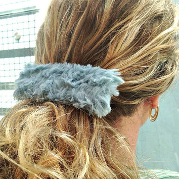 Fur Hair Clip - Teal Blue Furry French Barrette - 90s Fuzzy Large Hair Tie - Faux Fur