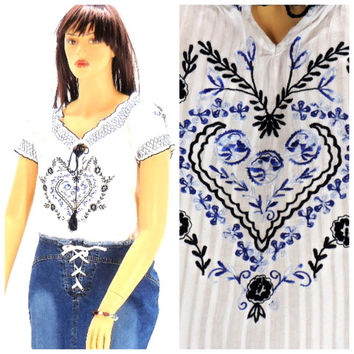 Vintage 80s peasant top size L, embroidered cotton smock top, Indie Boho hippie smocked blouse, SunnyBohoVintage