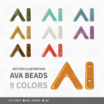 Three Hole Ava Beads Vector Clip Art Pack - ai, eps, pdf, png