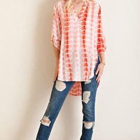 Tie Dye Roll Up Sleeve Tunic Top
