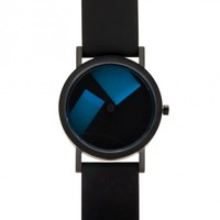Projects Deja Vu Black W/ Blue Hands Silicone Band Watch