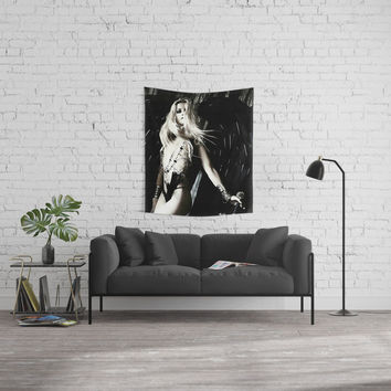 Dark Angel, hot demonic blonde girl with sword, sexy half nude posing, surreal fantasy world Wall Tapestry by hmdesignspl