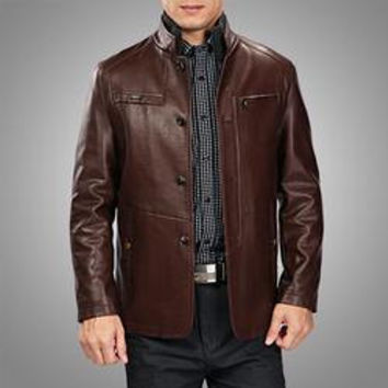 Handmade Men brown leather jacket with front quality button 100% pure leather, men's biker leather jacket