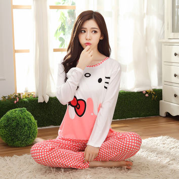 Cartoon Women Pajamas Sets 2016 Thin Autumn&winter Long Sleeve Nightgown Girls Pajamas Sets For Hello Kitty Style Home Clothes
