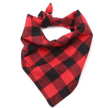 Cotton Plaid Red Black Dog Bandana Soft and Comfortable Pet Dog Scarf  Triangular Bandage Dog Bib Towel Dog Accessories S M