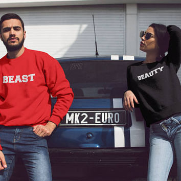 Beauty Beast Couple, Couple Outfits, Beauty And Beast, Couples Hoodie, Couples Gift Set, Couple Sweatshirt, Matching Couple, Hoodies Set