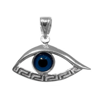 Sterling Silver Greek Key Evil Eye Pendant