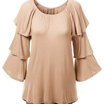 Solid Color Tiered Sleeve Blouse