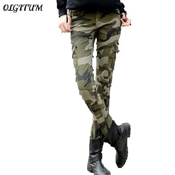 2016 fashion camo skinny jeans woman camouflage jeans slim plus size pencil jean femme