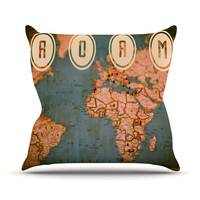 "Ann Barnes ""Roam II"" World Map Throw Pillow, 18"" x 18"" - Outlet Item"