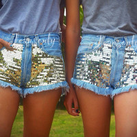 Sequin shorts Highwaisted shorts Gold Silver glitter denim New Year Christmas gift Festival Hipster Tunblr clothing