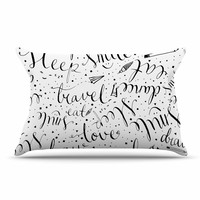 "MaJoBV ""Life Must-dos / Black"" White Pillow Case"