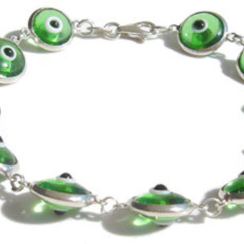 Evil Eye Green Translucent Silver Bracelet