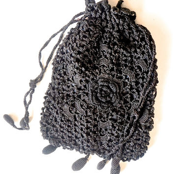 Victorian Reticule,Vintage Evening Bag,Black Crocheted Bag,Small Black Mourning Bag,Victorian Drawstring Bag/Pouch,Vintage Purse,Hand Made