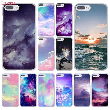 Lavaza Pink cute kawaii sky space Sunset Cloud Art Hard Phone Case for Apple iPhone 8 7 6 6S Plus X 10 5 5S SE 5C 4 4S Clouds