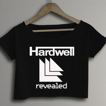 DJ Hardwell Revealed Printed Band Crop Top Crop Tee Black and White Women Tee Shirt - BG1
