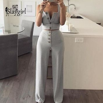 Slaygirl Sexy Autumn Two Piece Set Button Crop Top Solid Tops Casual 2 Piece Set Women Pant Tracksuit Spaghetti Strap Outfits