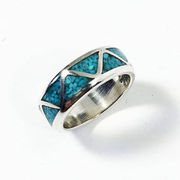 Vintage Sterling Silver Ring, Turquoise Inlay Band, Unisex Jewelry