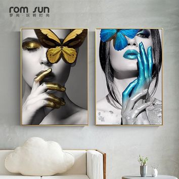 Abstract Wall Art Pictures Fashion Woman butterfly Lips Gold And White Black Modern Home Canvas Painting Beauty Decor Posters