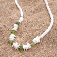 Puka Gem Green Hawaiian Necklace