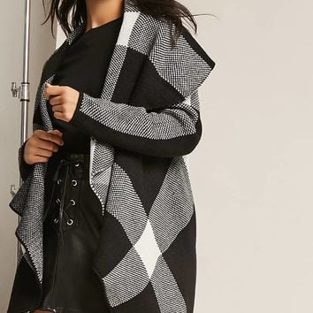 Plaid Open-Front Cardigan