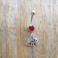 Small Elephant Belly Button Ring, Lucky Silver Elephant Navel Ring, Belly Button Jewelry, Gypsy Tribal Bohemian Jewelry, Body Jewelry.
