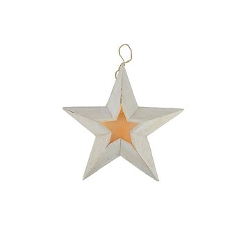 "11.5"" Pre-Lit Battery Operated Warm Clear LED Country Rustic White Wooden Star Christmas Decoration"