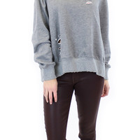 long sleeve distressed french terry sweater (heather grey)