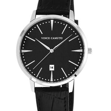 Vince Camuto Silver Tone Round Watch with Leather Strap