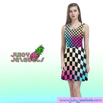 NEON CHESS PLAYER Skater Dress Rave Outfit Women Burning Man Clothing Rave Wear Festival Clothing Rave Clothing Sexy Dress Trance Clothing