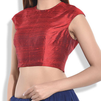 Indian Women's Maroon Poly Georgette Stitched Wedding Bridal Saree Collar Blouse Crop Top ABL26