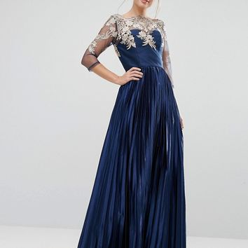 Chi Chi London Premium Lace Maxi Dress With Pleated Metallic Skirt at asos.com