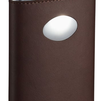Visol Kenton Brown Leather Flask with Oval Plate - 8 ounce