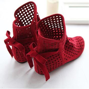 Hot sales women's Gladiator shoes fashion Cut-Outs lace-up Flat Sandals Nubuck Leather