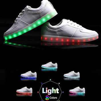 Womens LED Light-up Shoes: White sneaker with color changing lights for festivals, edc, ultra, raves, burning man, light up glowing