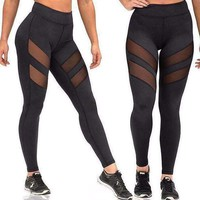 Athleisure Mesh Splice Elastic Women Sexy Leggings