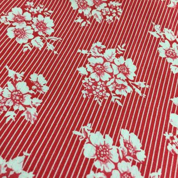 Vintage Retro Fabric Scrap By The Yard Red White Stripe Flower Floral Pattern