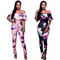 S-4XL Plus Size New Women Floral Off Shoulder Jumpsuits Rompers  Fashion Ladies Long Zipper Bodysuit