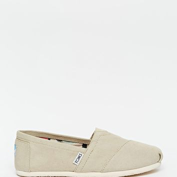 TOMS Light Grey Canvas Slip On Shoes